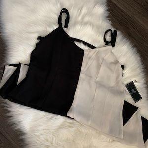 NWT Volcom Split Black & Cream Dress Size S